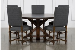 La Phillippe Cognac 72 Inch 6 Piece Round Dining With Pacifica Charcoal Chairs