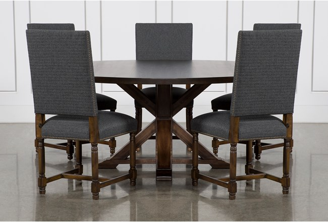 La Phillippe Cognac 72 Inch 6 Piece Round Dining With Pacifica Charcoal Chairs - 360