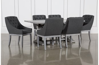 Toscana Cement 72 Inch 7 Piece Rectangle Dining with Alexa Charcoal Chairs