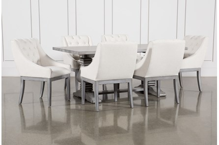 Toscana Cement 72 Inch 7 Piece Rectangle Dining with Alexa White Chairs