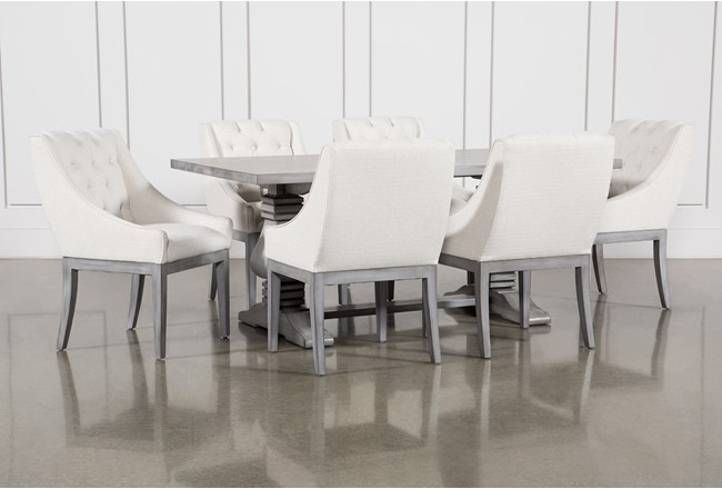 Toscana Cement 72 Inch 7 Piece Rectangle Dining with Alexa White Chairs - 360