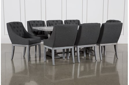 Toscana Cement 72 Inch 9 Piece Rectangle Dining with Alexa Charcoal Chairs