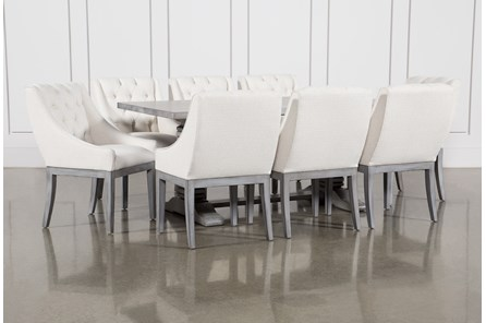 Toscana Cement 72 Inch 9 Piece Rectangle Dining with Alexa White Chairs