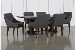 Toscana Cognac 72 Inch 7 Piece Rectangle Dining with Alexa Charcoal Chairs