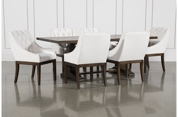 Toscana Cognac 72 Inch 7 Piece Rectangle Dining with Alexa White Chairs