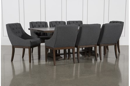 Toscana Cognac 72 Inch 9 Piece Rectangle Dining with Alexa Charcoal Chairs