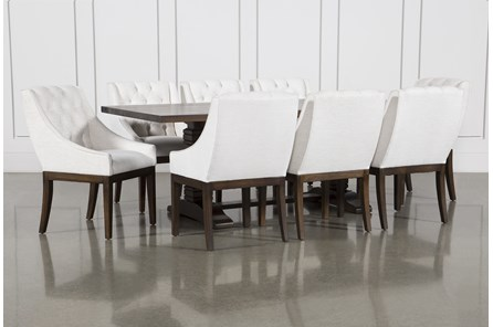 Toscana Cognac 72 Inch 9 Piece Rectangle Dining with Alexa White Chairs