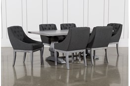 Toscana Cement 84 Inch 7 Piece Rectangle Dining with Alexa Charcoal Chairs