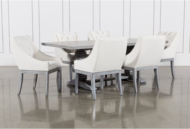 Toscana Cement 84 Inch 7 Piece Rectangle Dining with Alexa White Chairs - 360