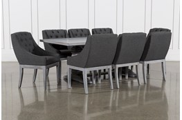 Toscana Cement 84 Inch 9 Piece Rectangle Dining with Alexa Charcoal Chairs