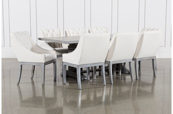 Toscana Cement 84 Inch 9 Piece Rectangle Dining with Alexa White Chairs