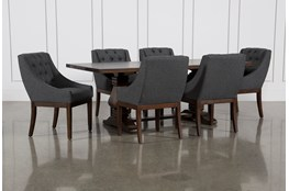 Toscana Cognac 84 Inch 7 Piece Rectangle Dining with Alexa Charcoal Chairs