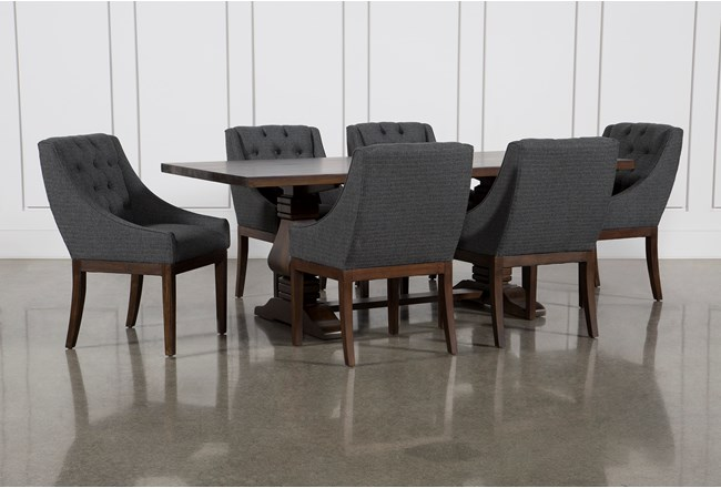 Toscana Cognac 84 Inch 7 Piece Rectangle Dining with Alexa Charcoal Chairs - 360
