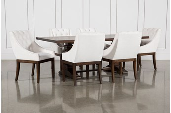Toscana Cognac 84 Inch 7 Piece Rectangle Dining with Alexa White Chairs