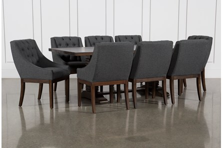 Toscana Cognac 84 Inch 9 Piece Rectangle Dining with Alexa Charcoal Chairs