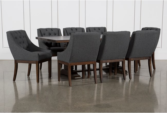 Toscana Cognac 84 Inch 9 Piece Rectangle Dining with Alexa Charcoal Chairs - 360