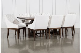 Toscana Cognac 84 Inch 9 Piece Rectangle Dining with Alexa White Chairs