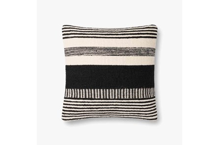 Accent Pillow-Magnolia Home Cotton Stripes Black/Ivory With Down Fill 20X20 By Joanna Gaines - Main