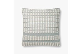 Accent Pillow-Magnolia Home Cotton Grid Blue/Ivory With Down Fill 20X20 By Joanna Gaines