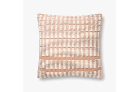 Accent Pillow-Magnolia Home Cotton Grid Blush/Ivory With Down Fill 20X20 By Joanna Gaines