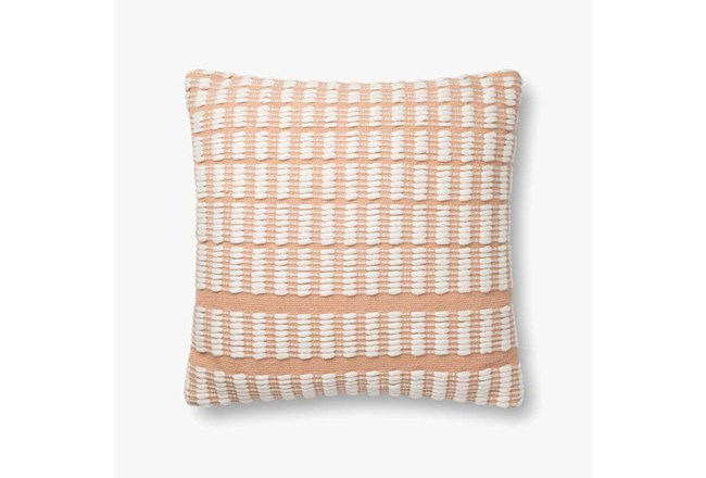 Accent Pillow-Magnolia Home Cotton Grid Blush/Ivory With Down Fill 20X20 By Joanna Gaines - 360