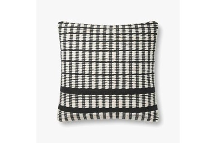 Accent Pillow-Magnolia Home Cotton Grid Black/Ivory With Down Fill 20X20 By Joanna Gaines