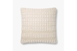 Accent Pillow-Magnolia Home Cotton Grid Natural/Ivory With Down Fill 20X20 By Joanna Gaines