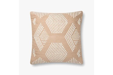 Accent Pillow-Magnolia Home Cotton Hex Sand/Ivory With Down Fill 20X20 By Joanna Gaines