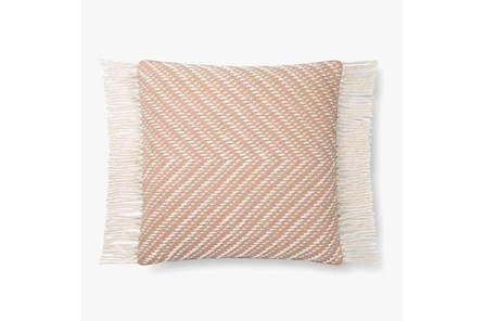 Accent Pillow-Magnolia Home Cotton Side Fringe Blush/Ivory With Down Fill 20X20 By Joanna Gaines
