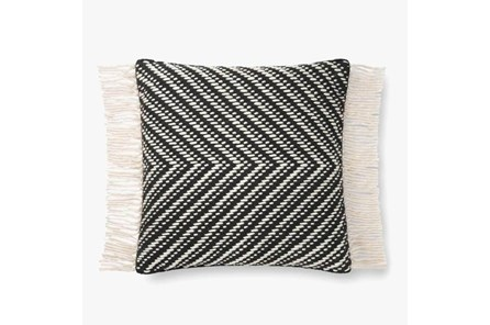 Accent Pillow-Magnolia Home Cotton Side Fringe Black/Ivory With Down Fill 20X20 By Joanna Gaines