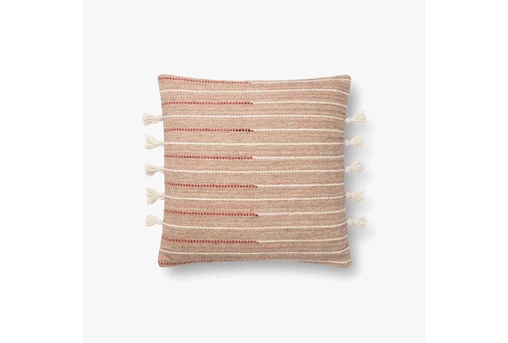 Accent Pillow-Magnolia Home Wool Sm Tassel Blush/Multi With Down Fill 16X16 By Joanna Gaines