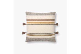 Accent Pillow-Magnolia Home Cotton Mini Tassel Gold/Multi With Down Fill 16X16 By Joanna Gaines