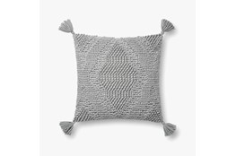 Accent Pillow-Magnolia Home Wool Moroccan Tassels Grey With Down Fill 16X16 By Joanna Gaines