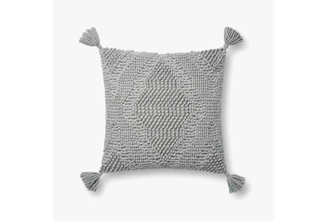 Accent Pillow-Magnolia Home Wool Moroccan Tassels Grey With Down Fill 16X16 By Joanna Gaines - 360