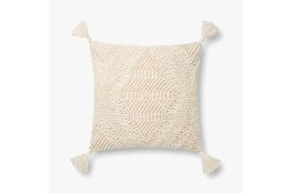 Accent Pillow-Magnolia Home Wool Moroccan Tassels Ivory With Down Fill 16X16 By Joanna Gaines