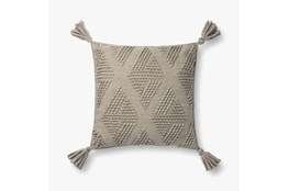 Accent Pillow-Magnolia Home Wool Diamond Tassels Grey With Down Fill 16X16 By Joanna Gaines
