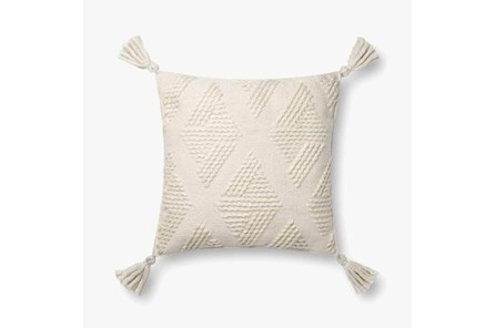Accent Pillow-Magnolia Home Wool Diamond Tassels Ivory With Down Fill 16X16 By Joanna Gaines