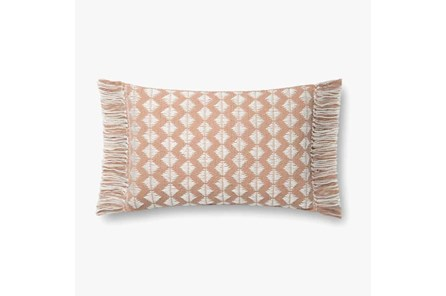Accent Pillow-Magnolia Home Cotton Sm Diamonds Blush/Ivory With Down Fill 16X20 By Joanna Gaines
