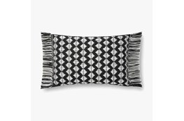 Accent Pillow-Magnolia Home Cotton Sm Diamonds Black/Ivory With Down Fill 16X20 By Joanna Gaines