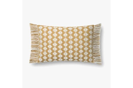 Accent Pillow-Magnolia Home Cotton Sm Diamonds Gold/Ivory With Down Fill 16X20 By Joanna Gaines