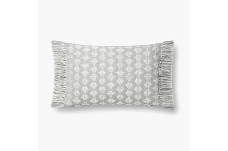Accent Pillow-Magnolia Home Cotton Sm Diamonds Grey/Ivory With Down Fill 16X20 By Joanna Gaines