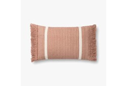 Accent Pillow-Magnolia Home Wool Banded Fringe Blush With Down Fill 16X20 By Joanna Gaines