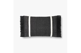 Accent Pillow-Magnolia Home Wool Banded Fringe Black With Down Fill 16X20 By Joanna Gaines