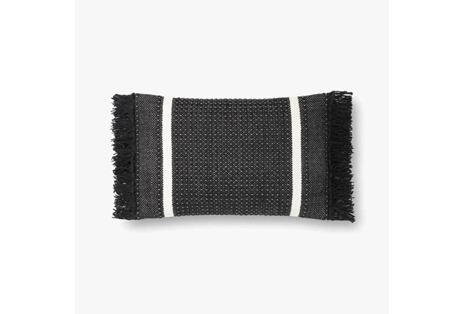 Accent Pillow-Magnolia Home Wool Banded Fringe Black With Down Fill 16X20 By Joanna Gaines - 360