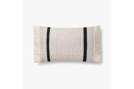Accent Pillow-Magnolia Home Wool Banded Fringe Ivory/Black With Down Fill 16X20 By Joanna Gaines
