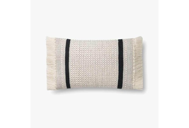 Accent Pillow-Magnolia Home Wool Banded Fringe Ivory/Black With Down Fill 16X20 By Joanna Gaines - 360