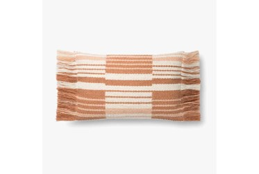 Accent Pillow-Magnolia Home Wool Stacked Fringe Terracotta/Ivory With Down Fill 16X20 By Joanna Gaines
