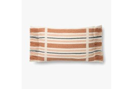 Accent Pillow-Magnolia Home Wool Stripe Fringe Terracotta/Multi With Down Fill 16X20 By Joanna Gaines