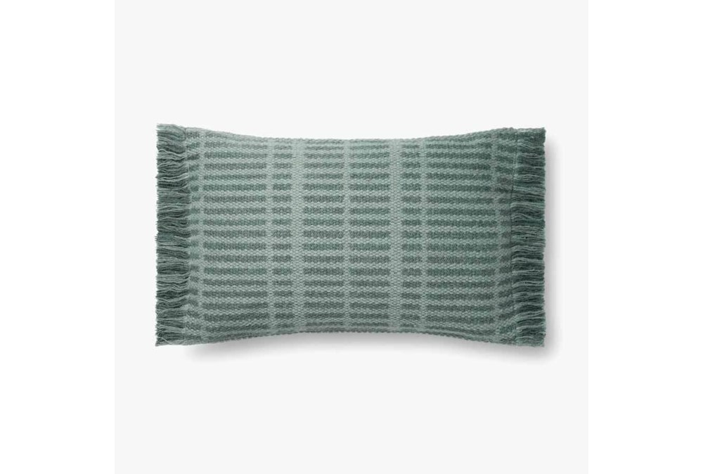 Accent Pillow-Magnolia Home Wool Tonal Fringe Blue With Down Fill 16X26 By Joanna Gaines