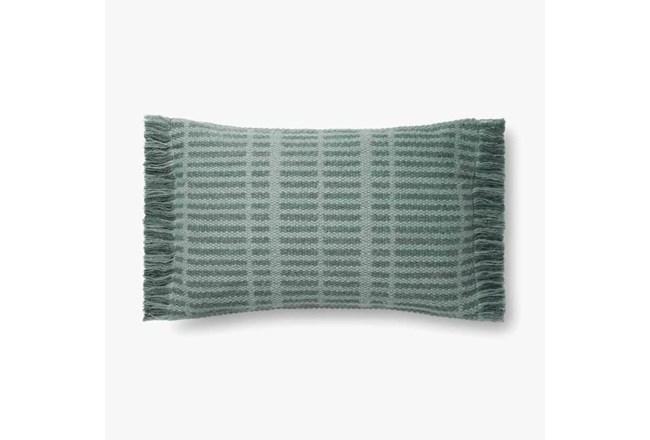 Accent Pillow-Magnolia Home Wool Tonal Fringe Blue With Down Fill 16X26 By Joanna Gaines - 360